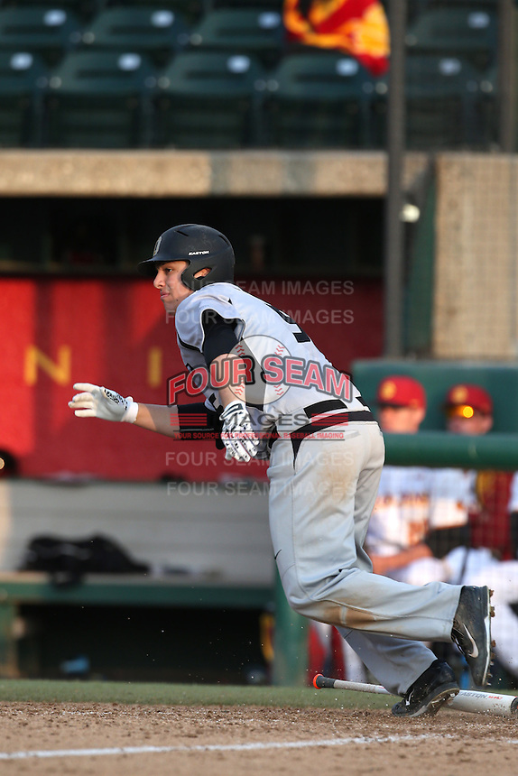 Zach Sterry (5) of the Oakland Grizzlies bats during a game against the Southern California Trojans at Dedeaux Field on February 21, 2015 in Los Angeles, California. Southern California defeated Oakland, 11-1. (Larry Goren/Four Seam Images)