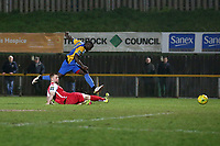 Carlos Djalo Oso of Romford scores the second goal for his team and celebrates during Romford vs Norwich United, Bostik League Division 1 North Football at Ship Lane on 11th April 2018