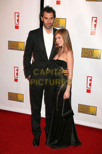 SACHA BARON COHEN & ISLA FISHER.At The 12th Annual Broadcast Film Critics Choice Awards held at The Santa Monica Civic Auditorium in Santa Monica, California, LA, USA, January 12th 2007. .full length strapless black dress lace couple fiance engaged.CAP/ADM/BP.©Byron Purvis/AdMedia/Capital Pictures.