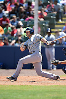 Mobile BayBears outfielder Jordan Parraz (3) at bat during a game against the Huntsville Stars on April 23, 2014 at Joe Davis Stadium in Huntsville, Tennessee.  Huntsville defeated Mobile 4-1.  (Mike Janes/Four Seam Images)