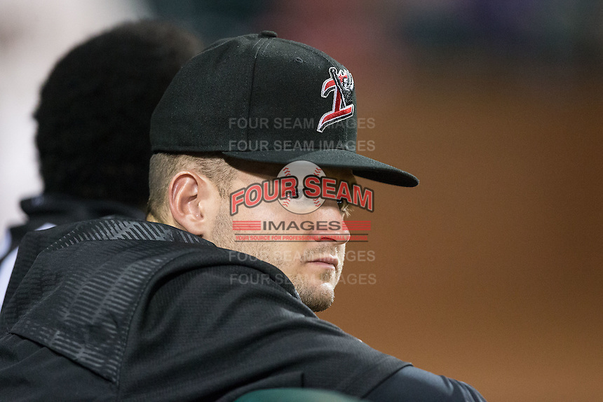 Kannapolis Intimidators relief pitcher Mike Morrison (28) watches the action from the dugout during the game against the Greensboro Grasshoppers at NewBridge Bank Park on July 7, 2016 in Greensboro, North Carolina.  The Dash defeated the Pelicans 13-9.  (Brian Westerholt/Four Seam Images)
