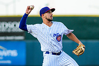 Iowa Cubs infielder Elliot Soto (1) during game two of a Pacific Coast League doubleheader against the Colorado Springs Sky Sox on August 17, 2017 at Principal Park in Des Moines, Iowa. Iowa defeated Colorado Springs 6-0. (Brad Krause/Krause Sports Photography)
