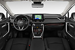 Stock photo of straight dashboard view of a 2019 Toyota RAV4 Limited 5 Door SUV