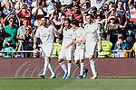 Players of Real Madrid celebrate goal during La Liga match between Real Madrid and Granada CF at Santiago Bernabeu Stadium in Madrid, Spain. October 05, 2019. (ALTERPHOTOS/A. Perez Meca)
