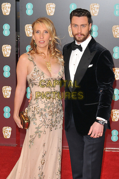 Sam Taylor-Johnson and Aaron Taylor-Johnson at the EE British Academy Film Awards (BAFTAs) 2017, Royal Albert Hall, Kensington Gore, London, England, UK, on Sunday 12 February 2017.<br /> CAP/CAN<br /> &copy;CAN/Capital Pictures