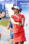 SIOUX FALLS, SD - SEPTEMBER 3: Allison Emrey watches her tee shot on the first hole during the final round of the 2017 Great Life Challenge Symetra Tour stop at Willow Run in Sioux Falls.  (Photo by Dave Eggen/Inertia)