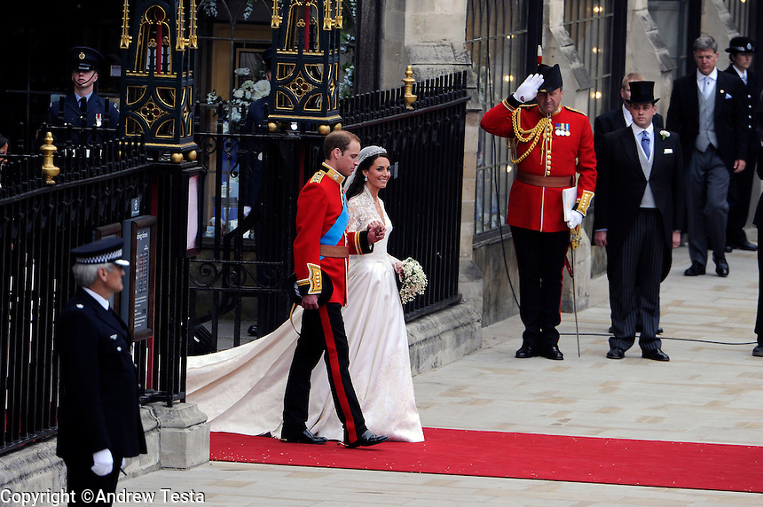 UK. London. 29th April 2011..William and Kate leave westminster abbey after the marriage ceremony.©Andrew Testa for the New York Times..