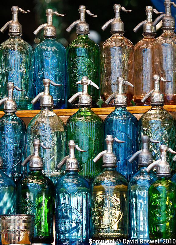Antique bottles provide some color to the massive San Telmo Mercado that occurs every sunday and extends for blocks in Buenos Aires, Argentina.
