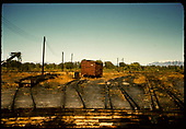 Alamosa yards - abandoned - box car #5102.  Photo taken from turntable.<br /> D&amp;RGW  Alamosa, CO