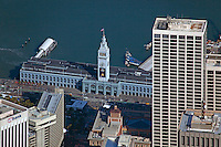 aerial photograph Ferry Building during Super Bowl 50, San Francisco, California
