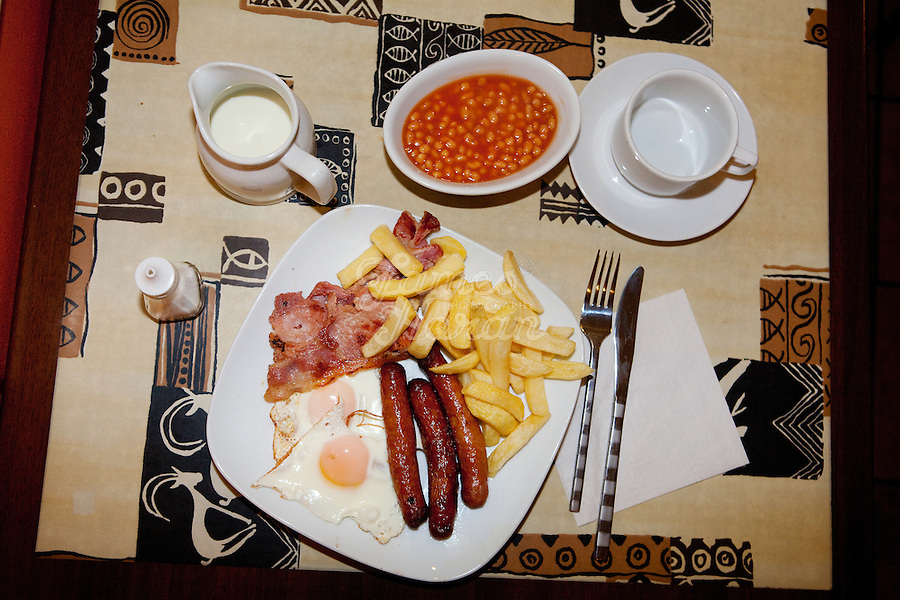 3/10/2010. A horse dealers breakfast of Chips, beans, fried eggs, sausages and bacon served at the Country Kitchen cafe, Ballinasloe during the Ballinasloe Horse Fair. Picture James Horan