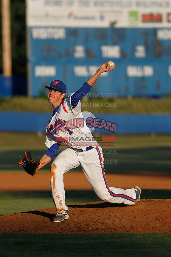 Whiteville High School Wolfpack pitcher MacKenzie Gore (1) on the mound during a game against the Rosewood High School Eagles at Legion Stadium  on May 26, 2017 in Whiteville, North Carolina. Whiteville defeated Rosewood 5-0 to win the eastern 1-A baseball championship and advance to the state finals. (Robert Gurganus/Four Seam Images)