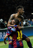 Calcio, finale di Champions League Juventus vs Barcellona all'Olympiastadion di Berlino, 6 giugno 2015.<br /> FC Barcelona's Neymar, left, celebrates with teammate Jordi Alba after scoring in the last seconds of the Champions League football final between Juventus Turin and FC Barcelona, at Berlin's Olympiastadion, 6 June 2015. Barcelona won 3-1.<br /> UPDATE IMAGES PRESS/Isabella Bonotto