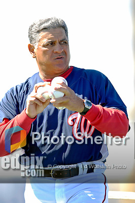 6 March 2007: Washington Nationals first base coach Jerry Morales throws batting practice prior to facing the Atlanta Braves at Space Coast Stadium in Viera, Florida. <br /> <br /> Mandatory Photo Credit: Ed Wolfstein Photo