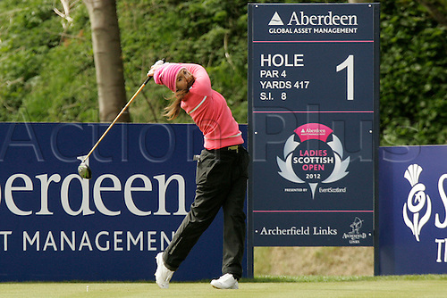 03.05.2012.  East Lothian, Scotland. Julie Greciet (FRA) In action during the Ladies Scottish Open from the Archerfield Fidra Links Course.