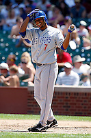 August 9, 2009:  Shortstop Angel Sanchez of the Las Vegas 51s during a game at Wrigley Field in Chicago, IL.  Las Vegas is the Pacific Coast League Triple-A affiliate of the Toronto Blue Jays.  Photo By Mike Janes/Four Seam Images