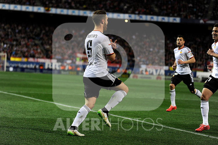 Valencia CF´s Shkodran Mustafi celebrates a goal during 2014-15 La Liga match between Atletico de Madrid and Valencia CF at Vicente Calderon stadium in Madrid, Spain. March 08, 2015. (ALTERPHOTOS/Luis Fernandez)