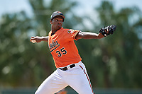 Baltimore Orioles pitcher Hector Guance (35) delivers a pitch during a Florida Instructional League game against the Philadelphia Phillies on October 4, 2018 at Ed Smith Stadium in Sarasota, Florida.  (Mike Janes/Four Seam Images)