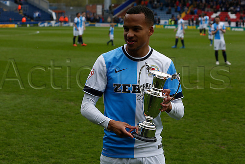 02.05.2015.  Blackburn, England. Skybet Championship. Blackburn Rovers versus Ipswich Town.<br /> Marjus Ollsson of Blackburn is awarded player of the year