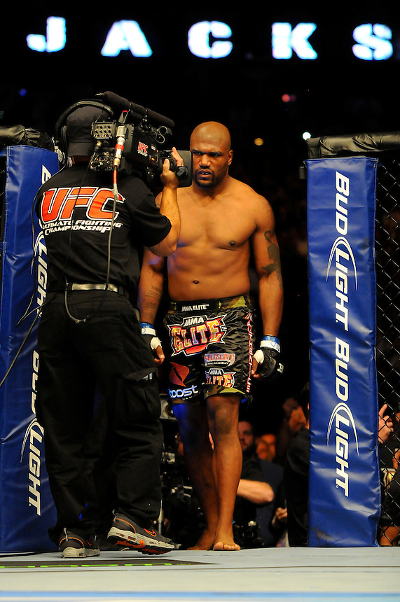 "24 SEPTEMBER 2011:  Quinton ""Rampage"" Jackson enters the Octagon and stares down the camera   during UFC 135 at the Pepsi Center in Denver, Colorado. *****For Editorial Use Only*****"