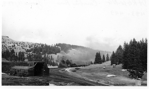 D&amp;RGW #483 and #493 coming into Cumbres Pass.  Snow shed is to left.<br /> D&amp;RGW  Cumbres, CO  Taken by Berkstresser, George - 6/4/1968