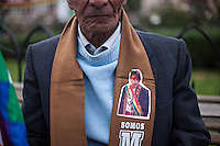 La Paz, Bolivia<br /> A picture dated January 22, 2013 shows an Aymara man wearing a scarf with the print of Bolivian President Evo Morales.