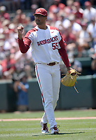 NWA Democrat-Gazette/ANDY SHUPE<br /> Arkansas starter Isaiah Campbell celebrates the final out Saturday, June 8, 2019, of the Ole Miss eighth inning in the NCAA Super Regional game at Baum-Walker Stadium in Fayetteville. Visit nwadg.com/photos to see more photographs from the game.