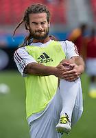 29 June 2013: Real Salt Lake midfielder Kyle Beckerman #5 in action during the warm-up in an MLS game between Real Salt Lake and Toronto FC at BMO Field in Toronto, Ontario Canada.<br /> Real Salt Lake won 1-0.