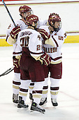 Matt Lombardi (BC - 24), Philip Samuelsson (BC - 5), Matt Price (BC - 25) - The Boston College Eagles defeated the Providence College Friars 4-1 on Tuesday, January 12, 2010, at Conte Forum in Chestnut Hill, Massachusetts.