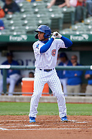 South Bend Cubs D.J. Artis (11) at bat during a Midwest League game against the Cedar Rapids Kernels at Four Winds Field on May 8, 2019 in South Bend, Indiana. South Bend defeated Cedar Rapids 2-1. (Zachary Lucy/Four Seam Images)