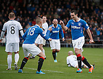 Lee Wallace scores the second goal for Rangers and celebrates with Kenny Miller