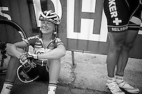 2010 race winner Emma Pooley (GBR/Lotto-Belisol) recuperating on top of the Mur de Huy after finishing 7th<br /> <br /> La Flèche Wallonne 2014
