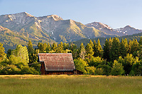 Barn on farm with wallow mountains. Near Halfway, Oregon