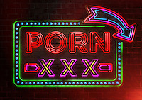 Illuminated neon advertisement sign for pornography
