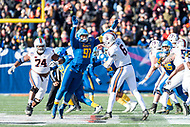Annapolis, MD - DEC 28, 2017: Virginia Cavaliers quarterback Kurt Benkert (6) is pressured in the pocket by Navy Midshipmen defensive end Tyler Sayles (91) during game between Virginia and Navy at the Military Bowl presented by Northrop Grunman at Navy-Marine Corps Memorial Stadium Annapolis, MD. (Photo by Phil Peters/Media Images International)