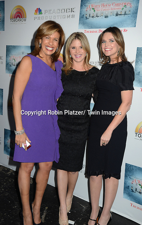 "Hoda Kotb, Jenna Bush Hager, who is pregnant,  and Savannah Guthrie attend the party for NBC's "" A White House Christmas: First Families Remember"" on December 11, 2012 at Tenjune in New York City."