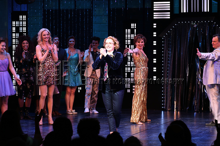 "Isabelle Mccalla, Angie Schworer, Beth Leavel, Caitlin Kinnunen and Brooks Ashmanskas during the Broadway Opening Night Curtain Call of ""The Prom"" at The Longacre Theatre on November 15, 2018 in New York City."