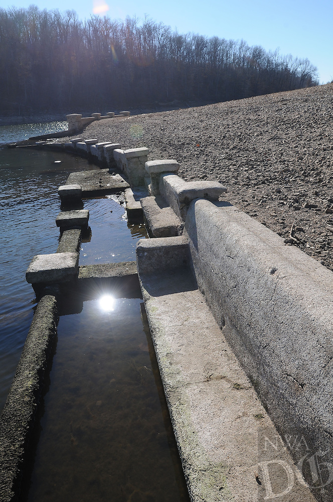 NWA Democrat-Gazette/FLIP PUTTHOFF <br /> Remnants of the amphitheater at the historic Monte Ne resort, which operated in the early 20th century, appear when the lake level is low, as in this photo taken Jan. 7. Coin Harvey, an entrepreneur and presidential candidate, built the resort.