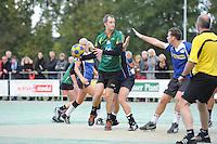 KORFBAL: GORREDIJK: sportpark Kortezwaag, 23-09-2012, hoofdklasse A, LDODK - SCO, Eindstand 12-13, Markus de Boer (#16 | LDODK), Wolter Achttien (#11 | SCO), ©foto Martin de Jong