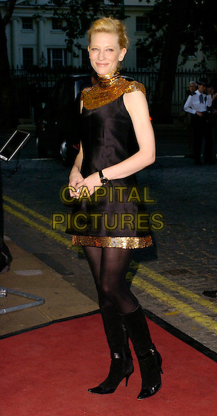 "CATE BLANCHETT.""Volver"" UK film premiere, Curzon Mayfair, London, UK..August 3rd, 2006.Ref: CAN.full length black dress gold sequin trim boots sleeveless fashion disaster.www.capitalpictures.com.sales@capitalpictures.com.©Can Nguyen/Capital Pictures"