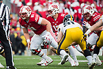 Wisconsin Badgers center Tyler Biadasz (61) blocks during an NCAA College Big Ten Conference football game against the Iowa Hawkeyes Saturday, November 11, 2017, in Madison, Wis. The Badgers won 38-14. (Photo by David Stluka)