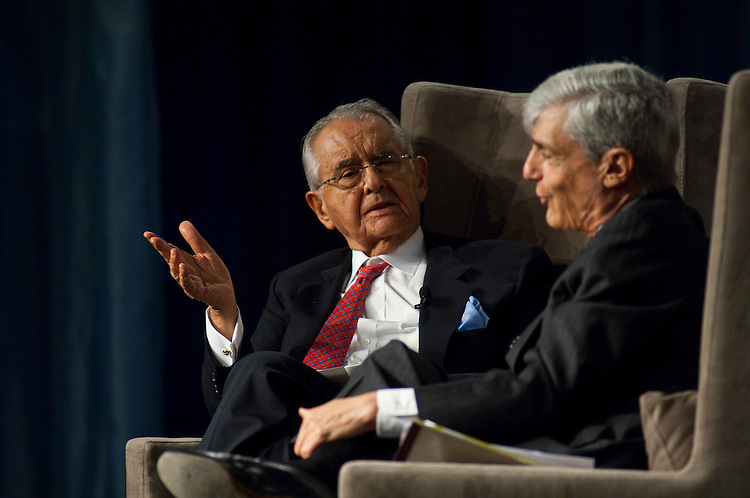 WASHINGTON, DC - April 28: Peter G. Peterson and Robert Rubin, former Secretary of the Treasury, during a discussion at the 2010 Fiscal Summit sponsored by the Peter G. Peterson Foundation. (Photo by Scott J. Ferrell/Congressional Quarterly)