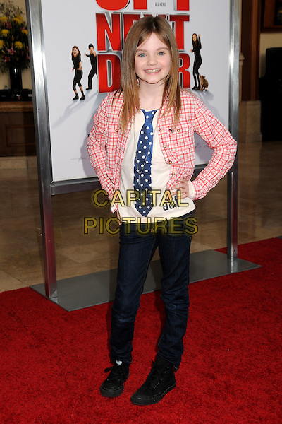"MORGAN LILY .""The Spy Next Door"" Los Angeles Premiere held at The Grove,  Los Angeles, California, USA, .9th January 2010..full length pink red blue tie polka dot plaid checked jeans hands on hips .CAP/ADM/BP.©Byron Purvis/Admedia/Capital Pictures"
