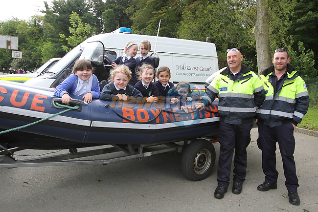 Robbie Farrell and Kevin Wallace from Boyne Fishermans Rescue as Clogherhead Coastguard and Boyne Fishermans Rescue give a water Safety Talk in Termonfeckin NS..(Photo credit should read Jenny Matthews www.newsfile.ie)....This Picture has been sent you under the conditions enclosed by:.Newsfile Ltd..The Studio,.Millmount Abbey,.Drogheda,.Co Meath..Ireland..Tel: +353(0)41-9871240.Fax: +353(0)41-9871260.GSM: +353(0)86-2500958.email: pictures@newsfile.ie.www.newsfile.ie.