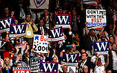 New York, NY - September 2, 2004 --  Signs during the acceptance speech of United States President George W. Bush at the 2004 Republican Convention in Madison Square Garden in New York, New York on Thursday, September 2, 2004.  In his remarks, the President spoke about where he wants to lead the United States for the next four years.  .Credit: Ron Sachs / CNP.(RESTRICTION: No New York Metro or other Newspapers within a 75 mile radius of New York City)
