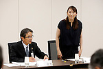 (L-R) Ryohei Miyata, Ai Sugiyama,<br /> SEPTEMBER 18, 2015 :<br /> The 1st Preparatory Committee towards the Tokyo 2020 Olympic and Paralympic Games emblem selection is held in Tokyo, Japan. (Photo by Shugo TAKEMI/Tokyo2020/AFLO)