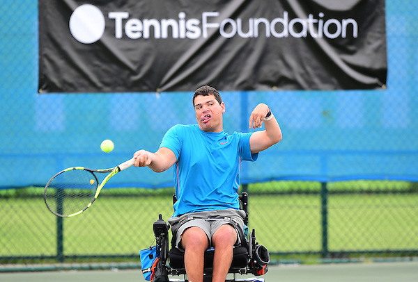 Richard Green (GBR) [1] in action during the British Open UNIQLO Wheelchair Tennis Tour at Nottingham Tennis Centre.<br /> <br /> Picture: Chris Vaughan/James Jordan Photography/Tennis Foundation<br /> Date: July 29, 2016