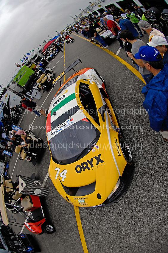The #74 Oryx Racing Audi R* of Humaid Masaood, Steven Kane & Saeed Al Mehairi heads to the track.