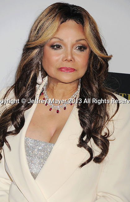 CENTURY CITY, CA- MAY 03: TV personality Latoya Jackson arrives at the 20th Annual Race To Erase MS Gala 'Love To Erase MS' at the Hyatt Regency Century Plaza on May 3, 2013 in Century City, California.