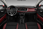 Stock photo of straight dashboard view of a 2018 KIA Rio EX 5 Door Hatchback